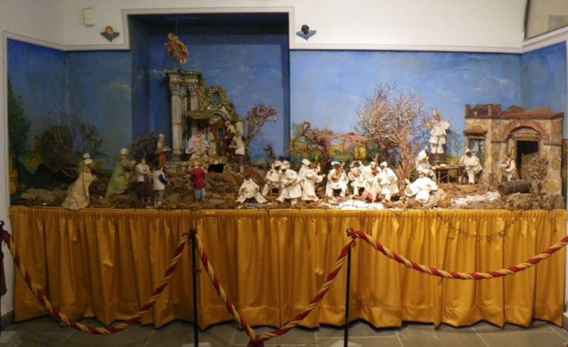 Christmas Crib with Pulcinella figures. Pulcinella Museum in Acerra, Italy.